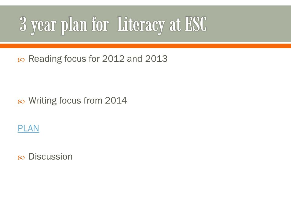  Reading focus for 2012 and 2013  Writing focus from 2014 PLAN  Discussion