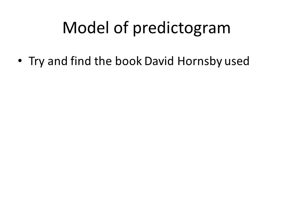 Model of predictogram Try and find the book David Hornsby used