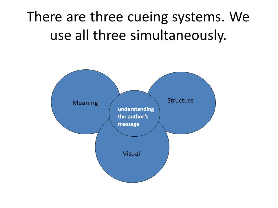There are three cueing systems. We use all three simultaneously.