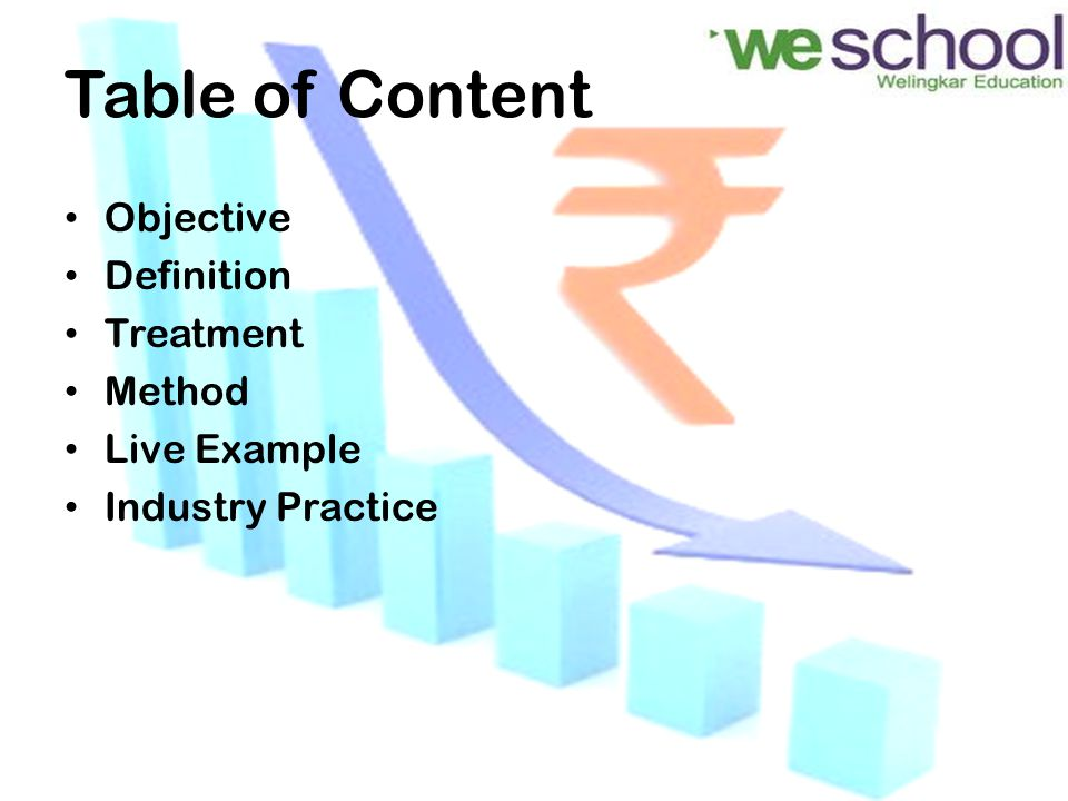 Table of Content Objective Definition Treatment Method Live Example Industry Practice