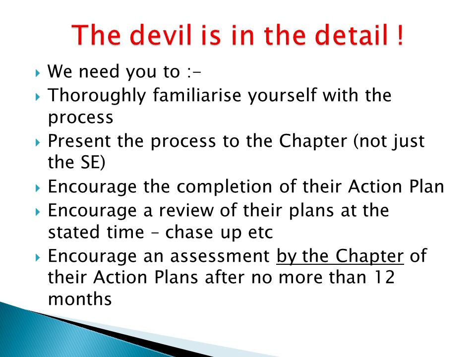  We need you to :-  Thoroughly familiarise yourself with the process  Present the process to the Chapter (not just the SE)  Encourage the completi