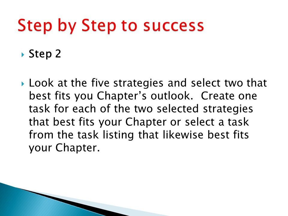  Step 2  Look at the five strategies and select two that best fits you Chapter's outlook. Create one task for each of the two selected strategies th