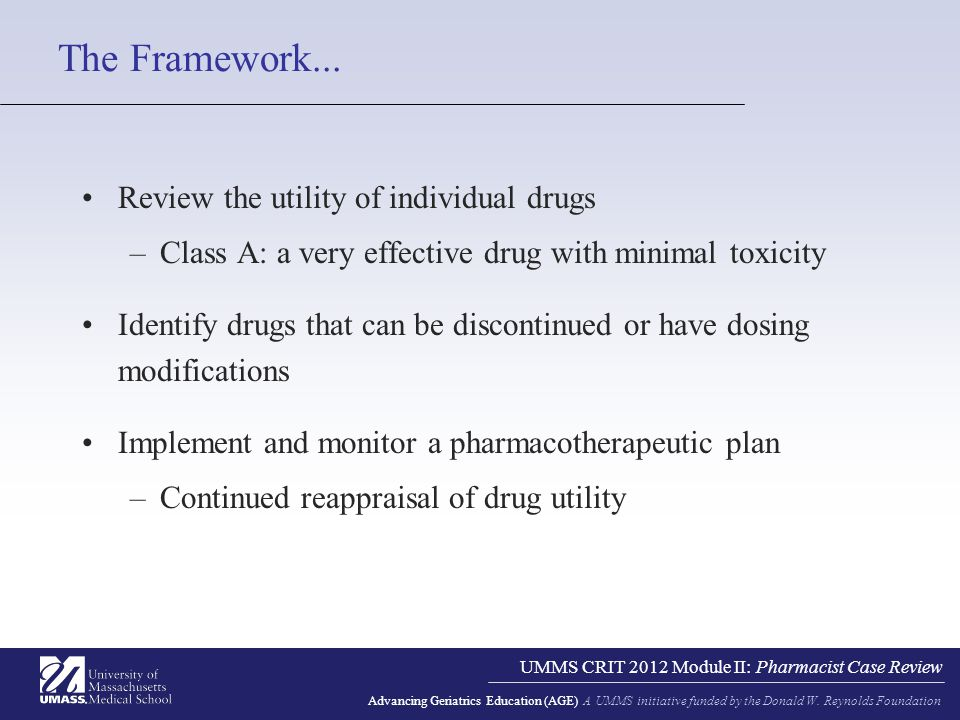 UMMS CRIT 2012 Module II: Pharmacist Case Review Advancing Geriatrics Education (AGE) A UMMS initiative funded by the Donald W.
