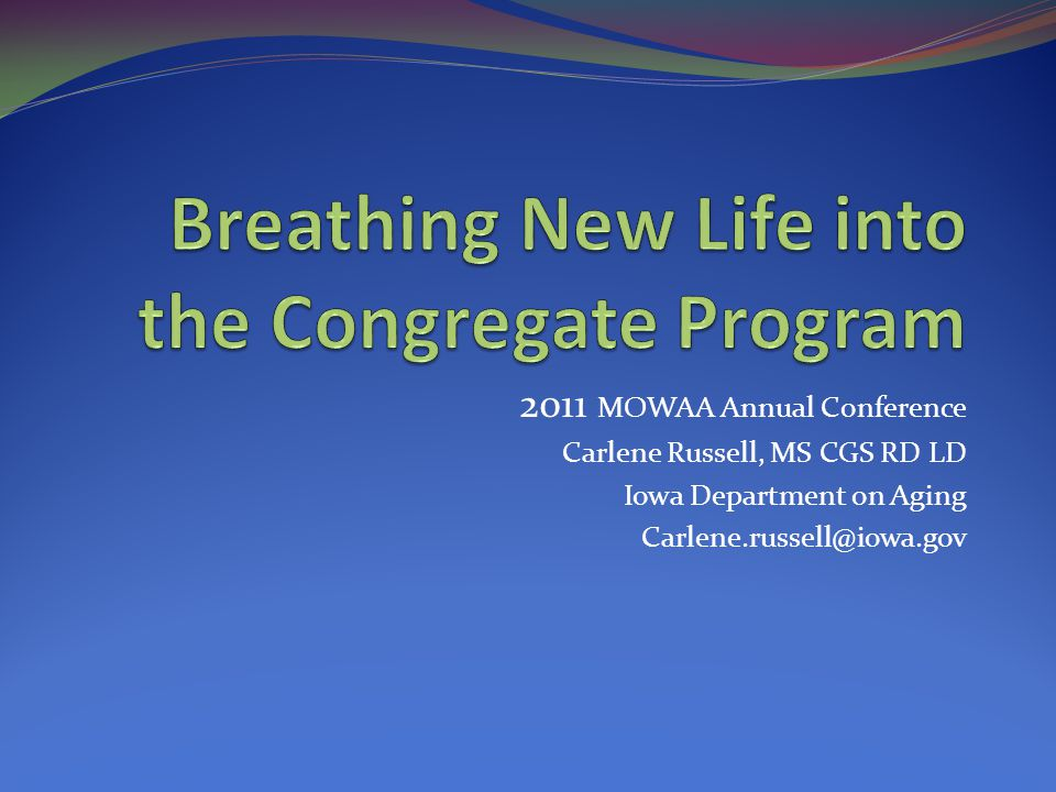 Iowa Congregate Meal Program SFY 2010  Clients41,337  Units 1,515,735  Units/ client 37 (national 53 in 2009)  Nutrition Counseling 61  Nutrition Education 1,148