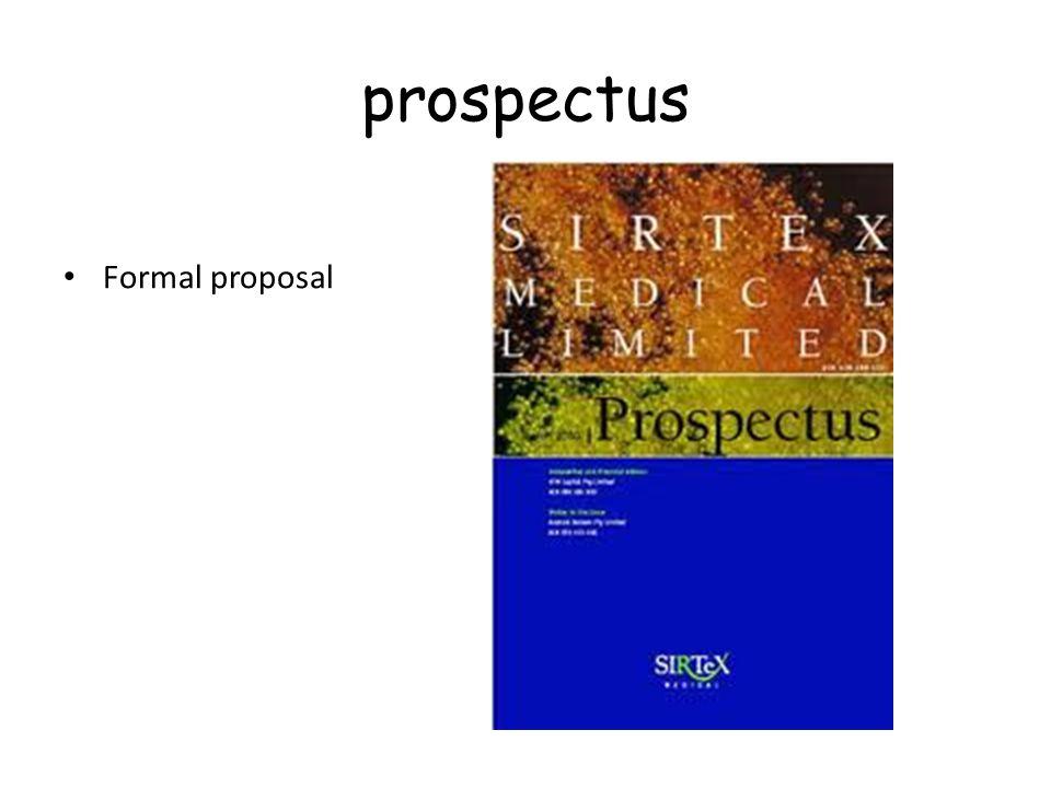 prospectus Formal proposal