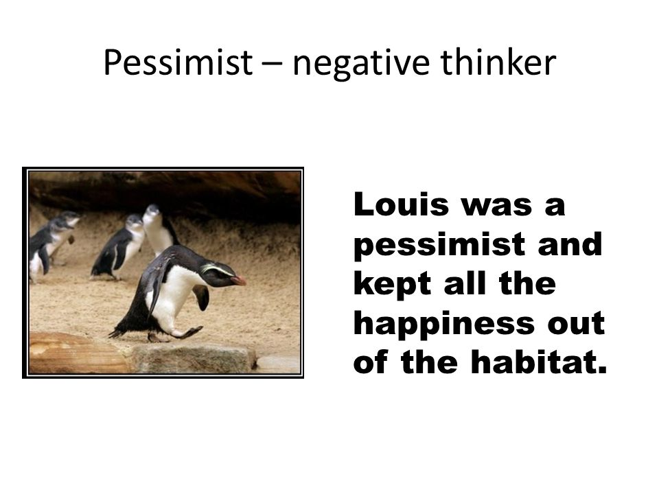 Pessimist – negative thinker Louis was a pessimist and kept all the happiness out of the habitat.