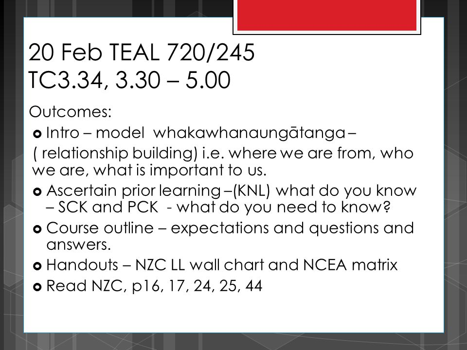 20 Feb TEAL 720/245 TC3.34, 3.30 – 5.00 Outcomes:  Intro – model whakawhanaungātanga – ( relationship building) i.e.
