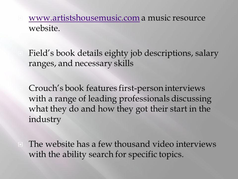  www.artistshousemusic.com a music resource website.