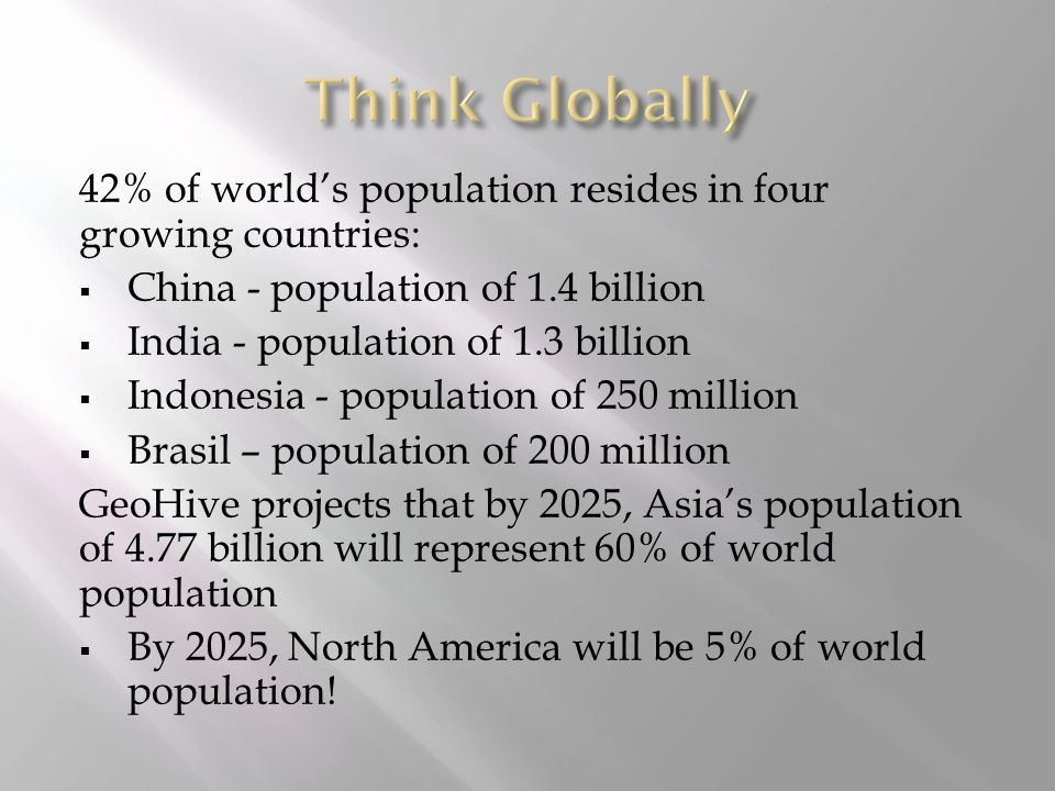 42% of world's population resides in four growing countries:  China - population of 1.4 billion  India - population of 1.3 billion  Indonesia - population of 250 million  Brasil – population of 200 million GeoHive projects that by 2025, Asia's population of 4.77 billion will represent 60% of world population  By 2025, North America will be 5% of world population!