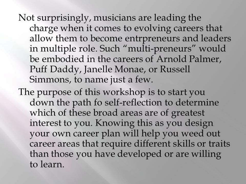 Not surprisingly, musicians are leading the charge when it comes to evolving careers that allow them to become entrpreneurs and leaders in multiple role.