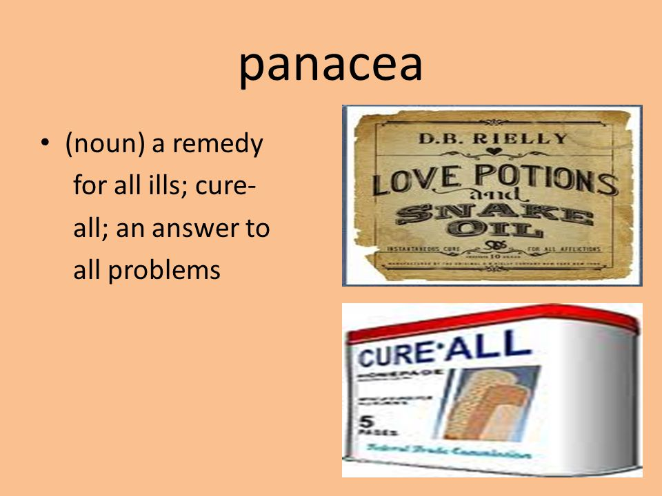 panacea (noun) a remedy for all ills; cure- all; an answer to all problems