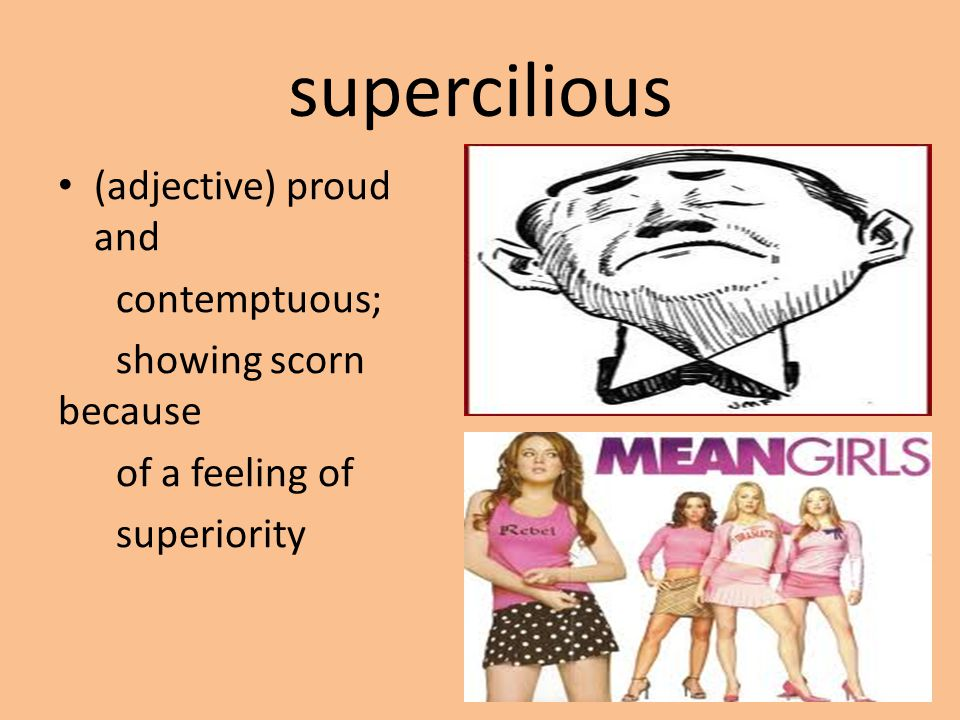 supercilious (adjective) proud and contemptuous; showing scorn because of a feeling of superiority