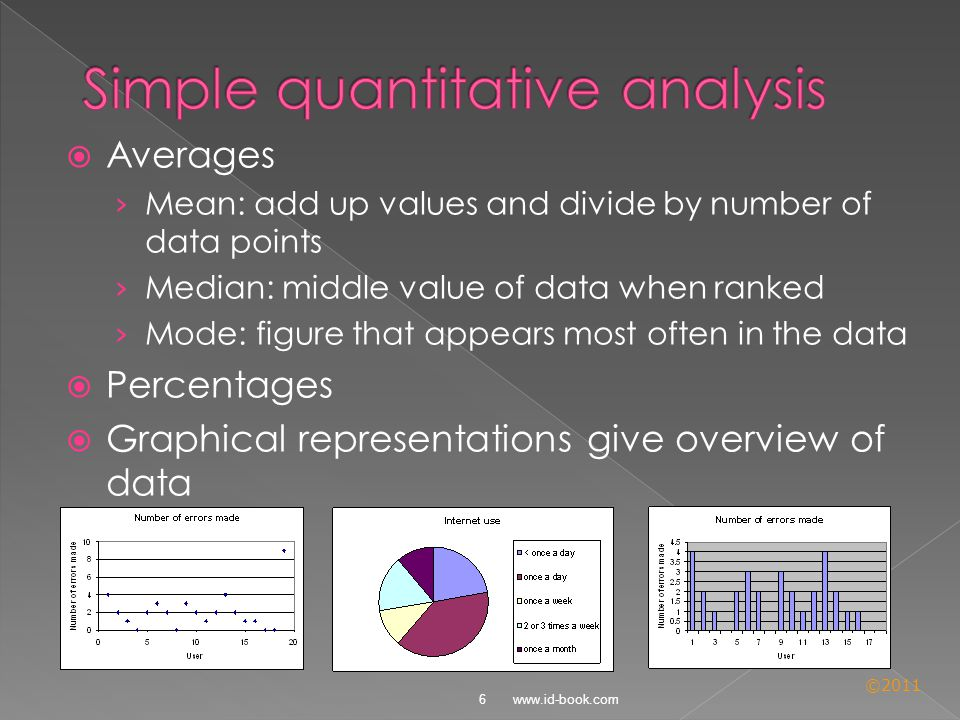 ©2011  Averages › Mean: add up values and divide by number of data points › Median: middle value of data when ranked › Mode: figure that appears most often in the data  Percentages  Graphical representations give overview of data 6 www.id-book.com