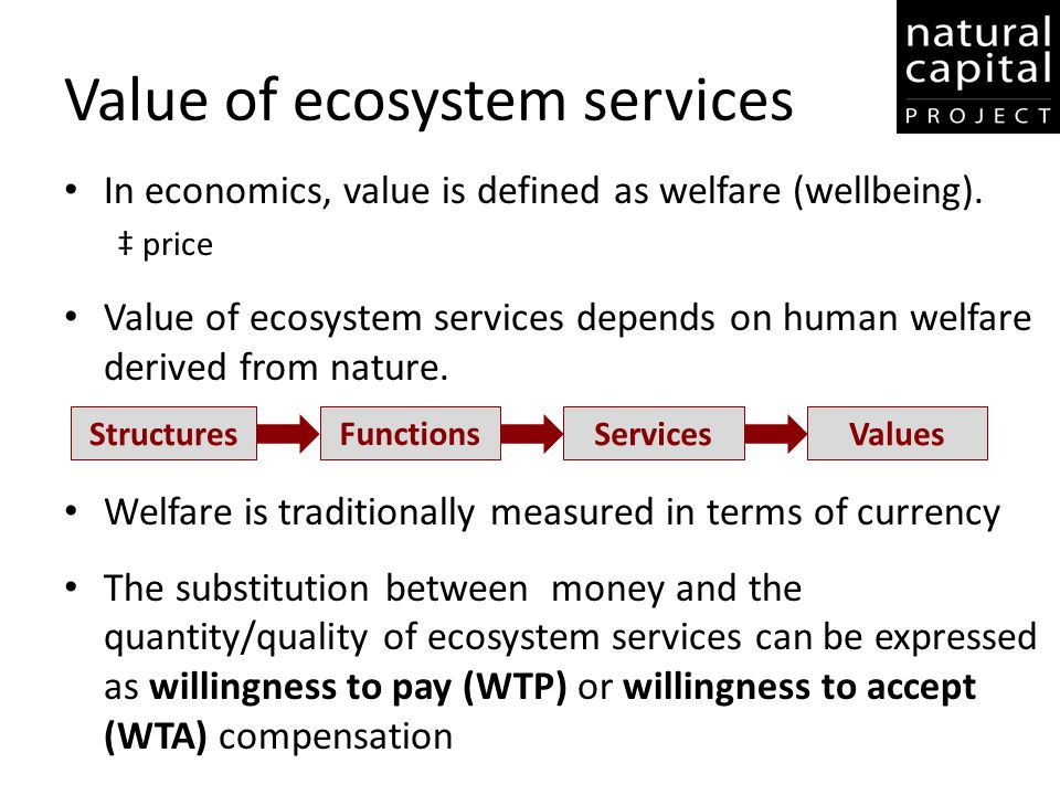 Value of ecosystem services In economics, value is defined as welfare (wellbeing). ‡ price Value of ecosystem services depends on human welfare derive