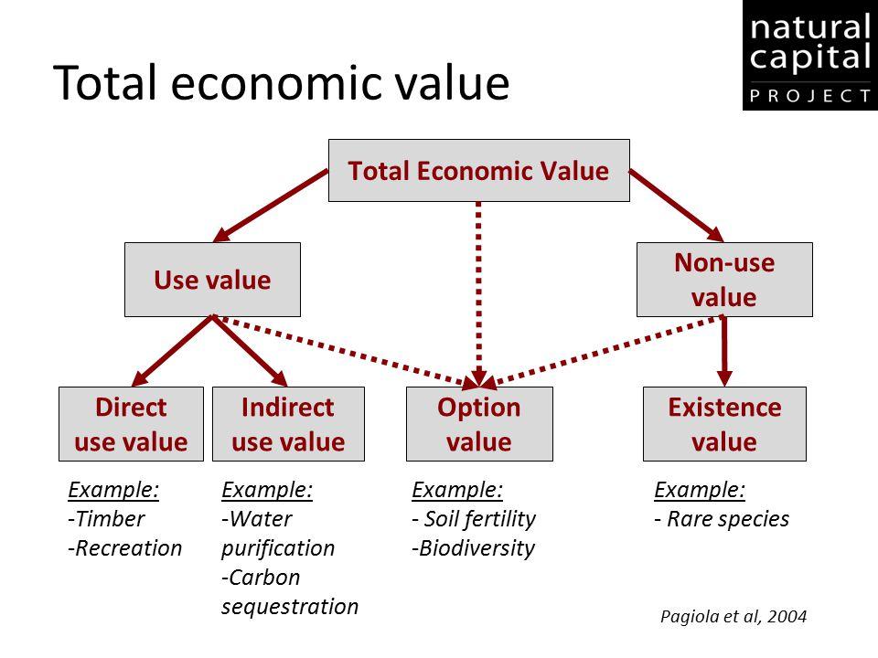 Total economic value Total Economic Value Use value Non-use value Direct use value Indirect use value Option value Existence value Example: -Timber -R