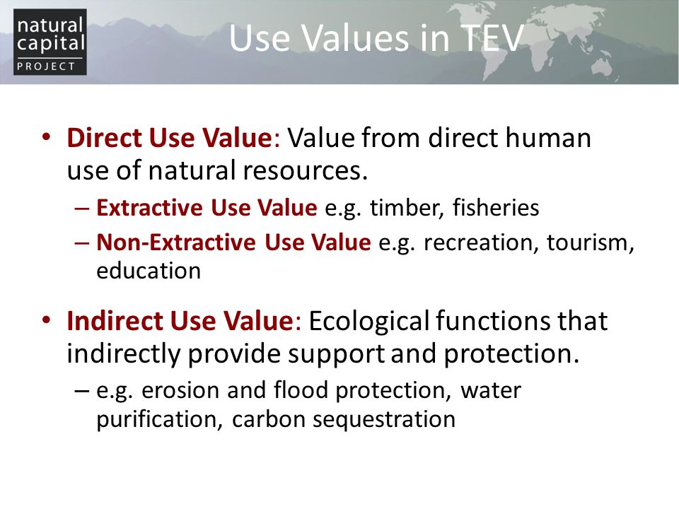 Direct Use Value: Value from direct human use of natural resources. – Extractive Use Value e.g. timber, fisheries – Non-Extractive Use Value e.g. recr