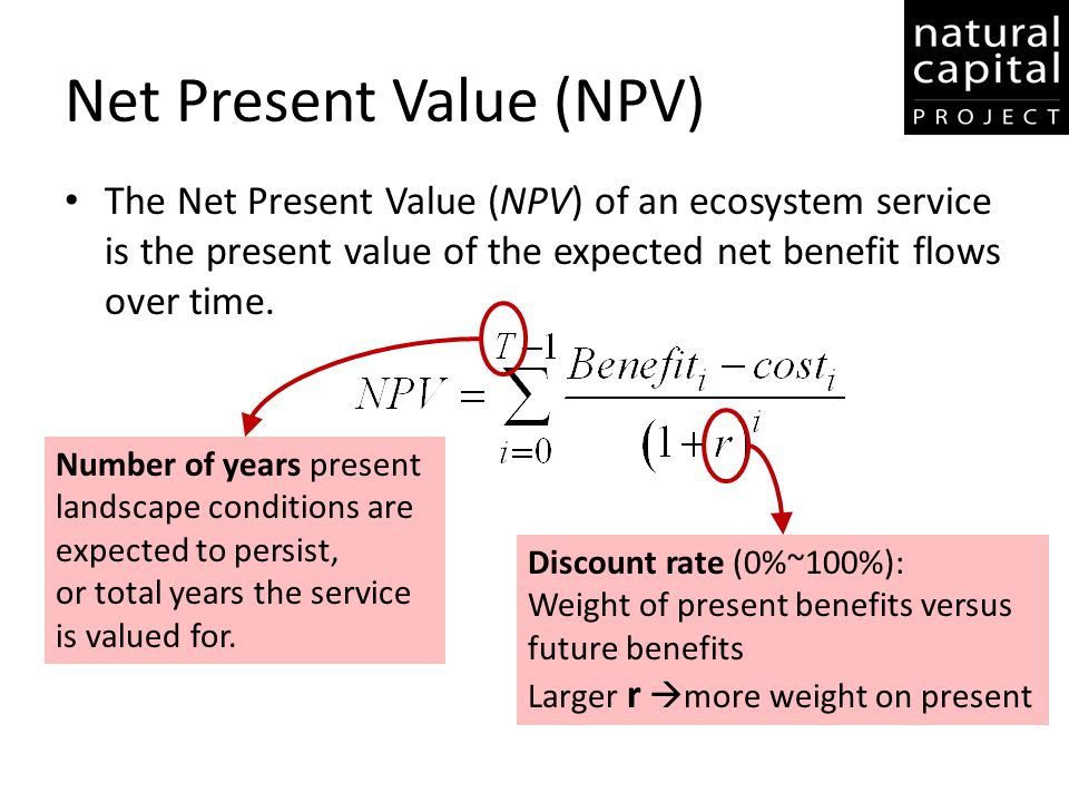 Net Present Value (NPV) The Net Present Value (NPV) of an ecosystem service is the present value of the expected net benefit flows over time. Number o
