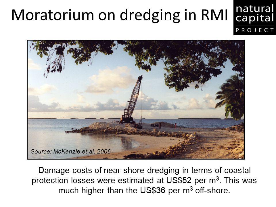 Moratorium on dredging in RMI Source: McKenzie et al. 2006 Damage costs of near-shore dredging in terms of coastal protection losses were estimated at