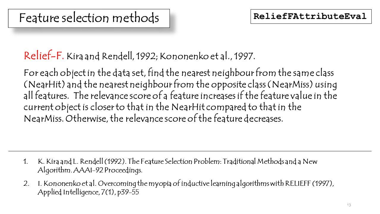 13 Feature selection methods Relief-F. Kira and Rendell, 1992; Kononenko et al., 1997.