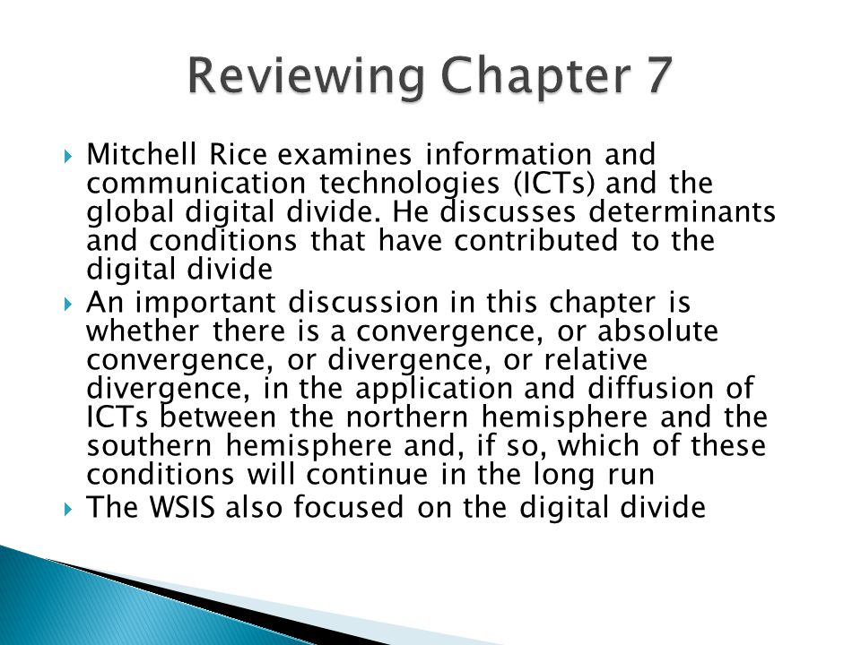  Mitchell Rice examines information and communication technologies (ICTs) and the global digital divide.