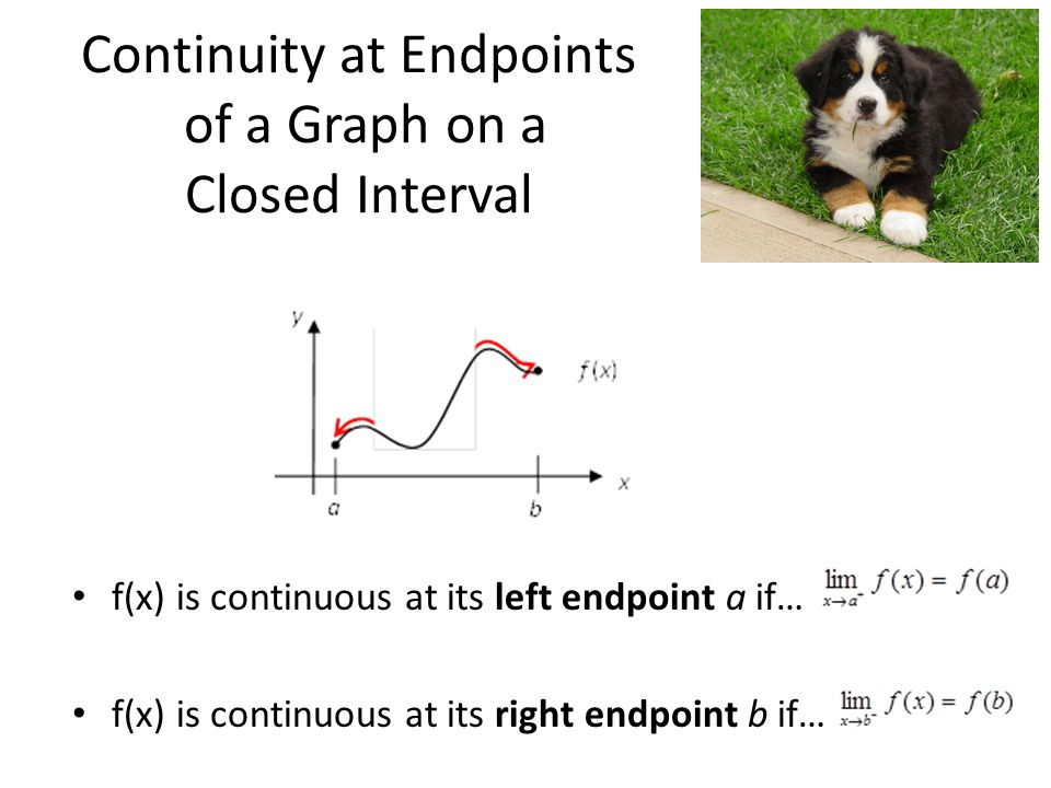 Continuity at Endpoints of a Graph on a Closed Interval f(x) is continuous at its left endpoint a if… f(x) is continuous at its right endpoint b if…