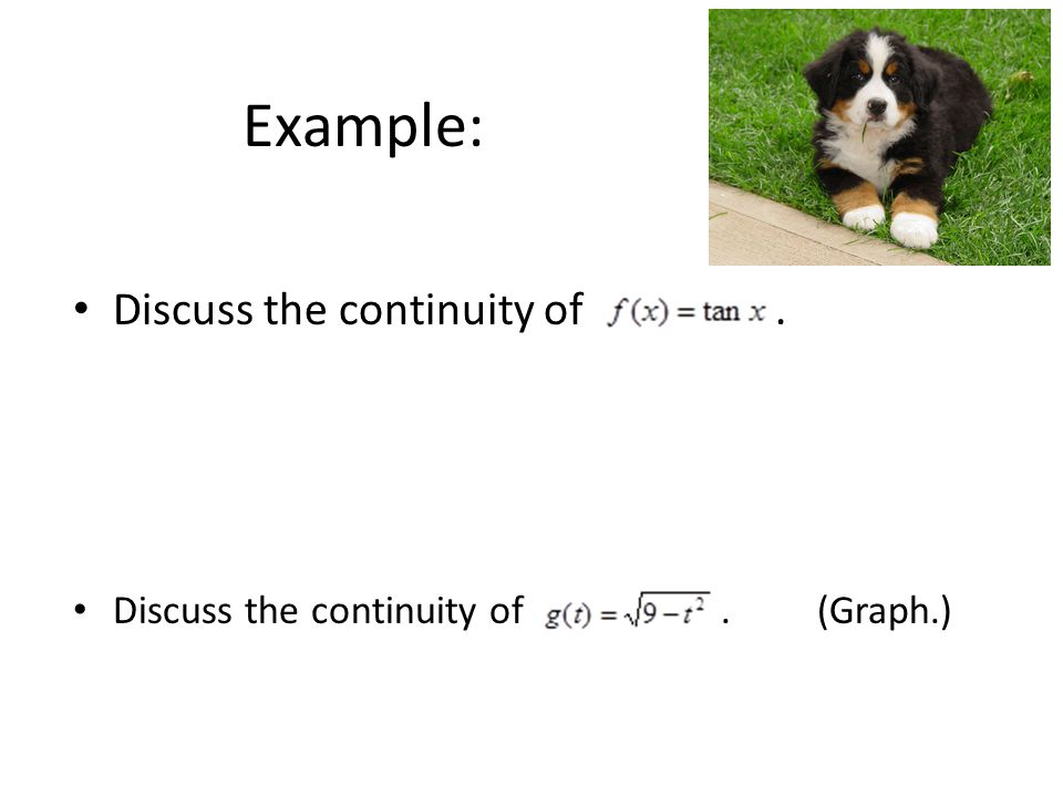 Example: Discuss the continuity of. Discuss the continuity of.(Graph.)
