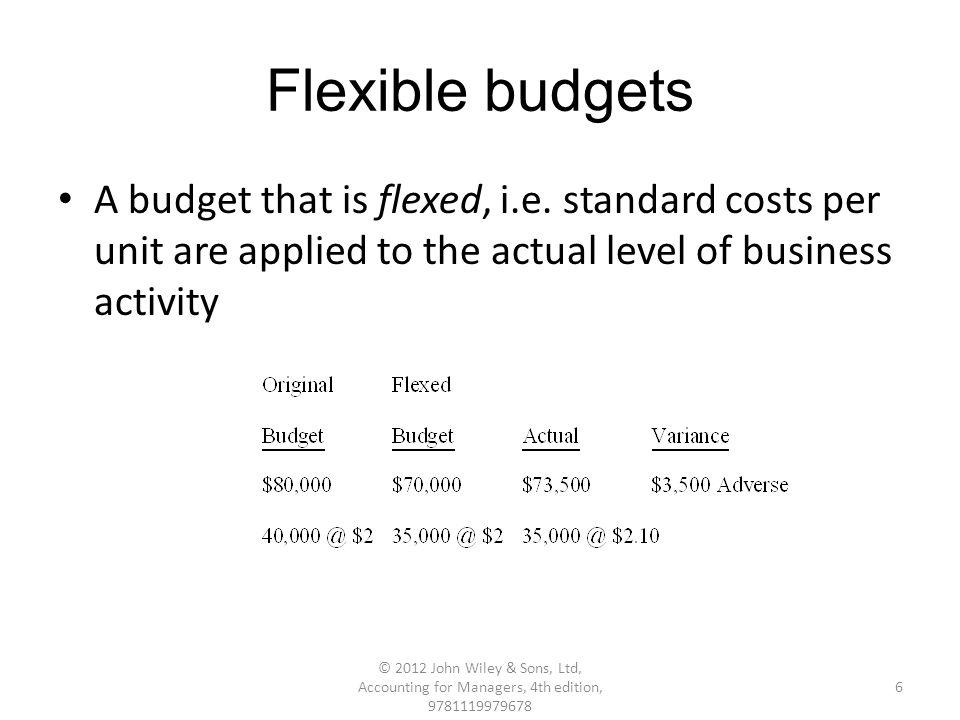 Flexible budgets A budget that is flexed, i.e.