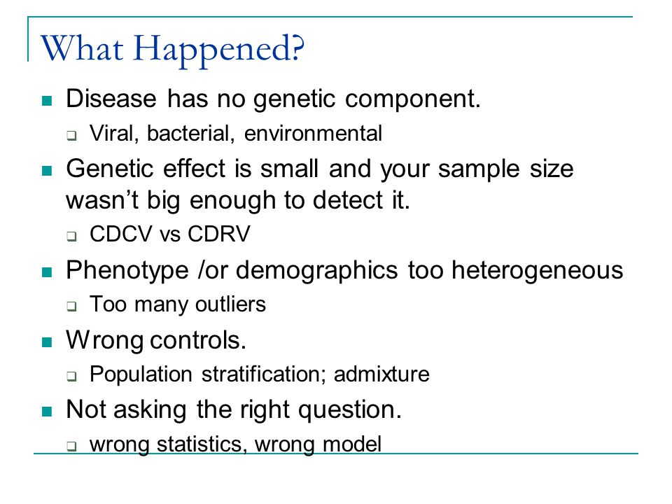 What Happened? Disease has no genetic component.  Viral, bacterial, environmental Genetic effect is small and your sample size wasn't big enough to d