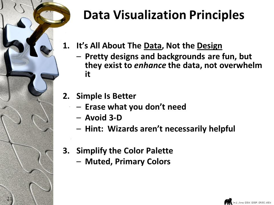 21 Data Visualization Principles 1.It's All About The Data, Not the Design –Pretty designs and backgrounds are fun, but they exist to enhance the data, not overwhelm it 2.Simple Is Better –Erase what you don't need –Avoid 3-D –Hint: Wizards aren't necessarily helpful 3.Simplify the Color Palette –Muted, Primary Colors Kim L.
