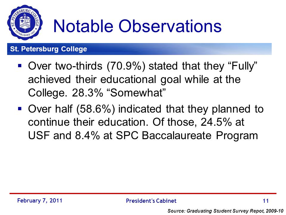 """St. Petersburg College Notable Observations  Over two-thirds (70.9%) stated that they """"Fully"""" achieved their educational goal while at the College. 2"""