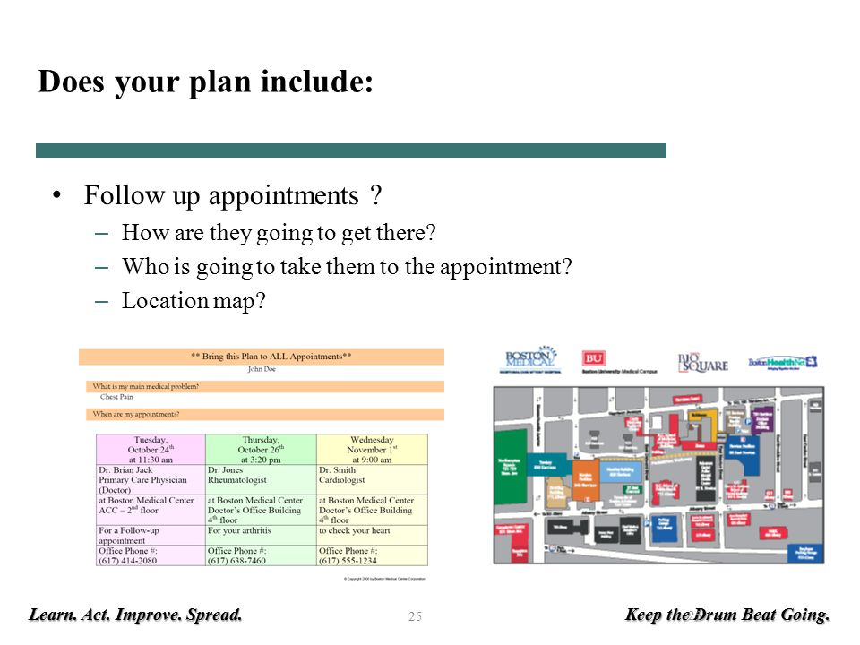 Learn. Act. Improve. Spread. Keep the Drum Beat Going. 25 Does your plan include: Follow up appointments ? – How are they going to get there? – Who is