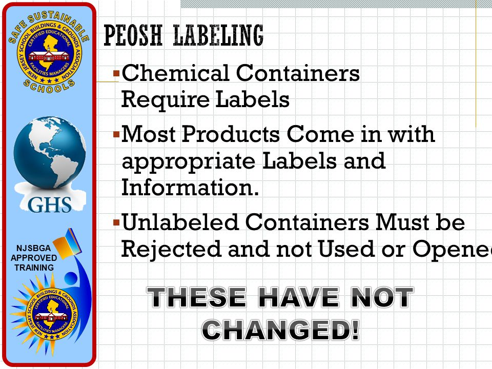NJSBGA APPROVED TRAINING  Chemical Containers Require Labels  Most Products Come in with appropriate Labels and Information.