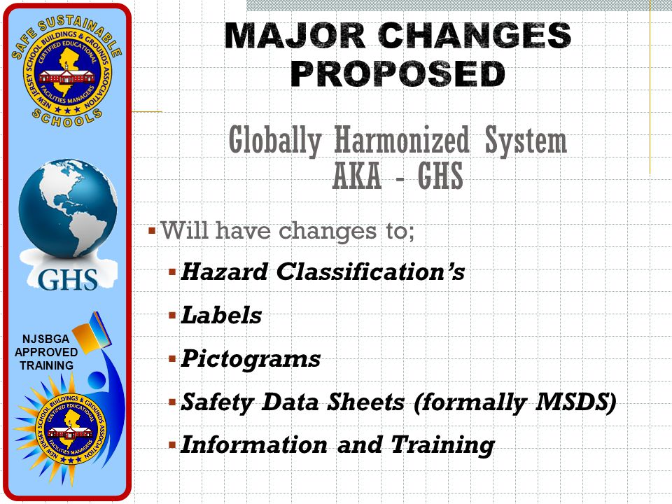 NJSBGA APPROVED TRAINING  Will have changes to;  Hazard Classification's  Labels  Pictograms  Safety Data Sheets (formally MSDS)  Information and Training Globally Harmonized System AKA - GHS