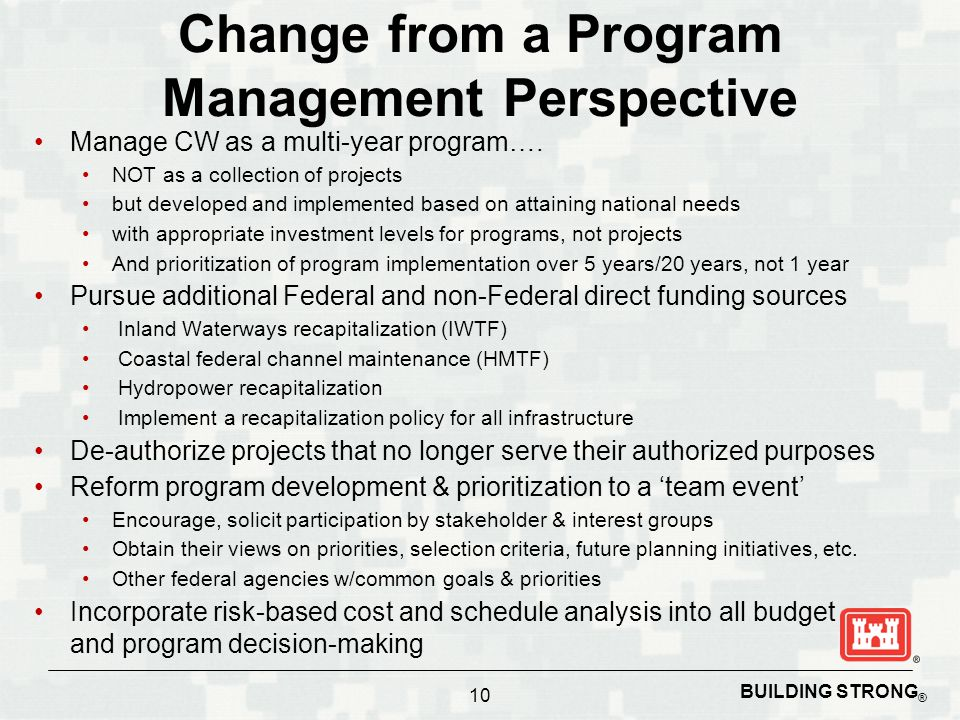 Change from a Program Management Perspective Manage CW as a multi-year program….