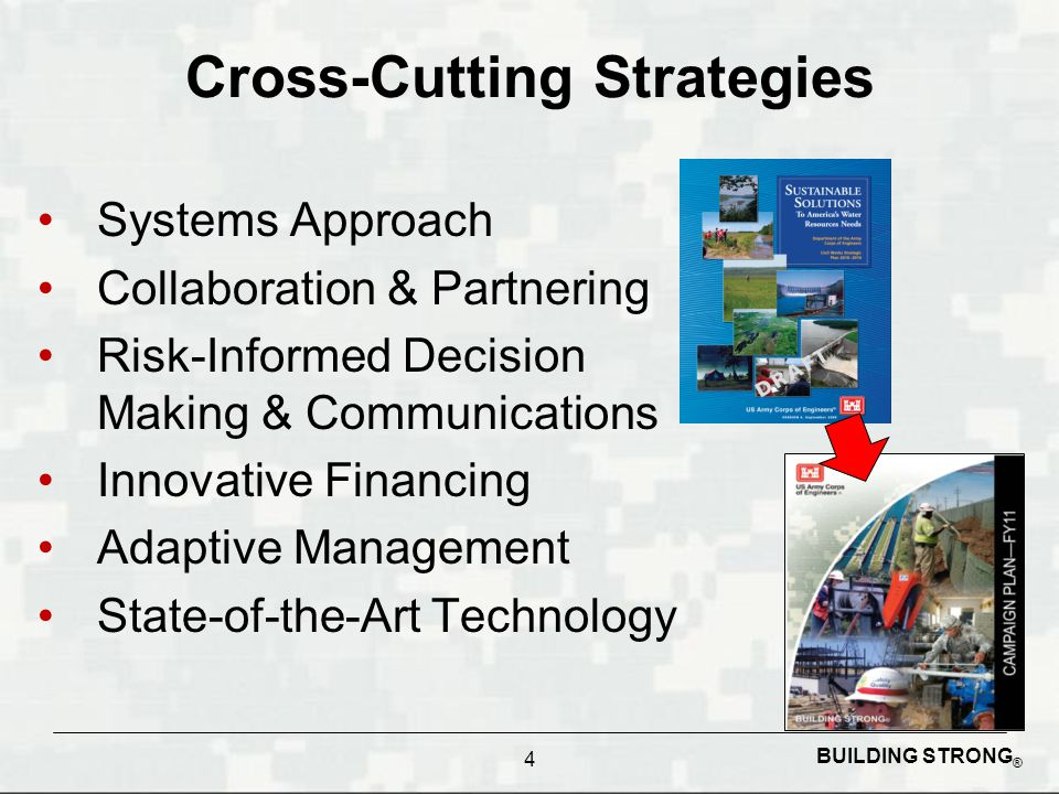 BUILDING STRONG ® Cross-Cutting Strategies Systems Approach Collaboration & Partnering Risk-Informed Decision Making & Communications Innovative Financing Adaptive Management State-of-the-Art Technology 4