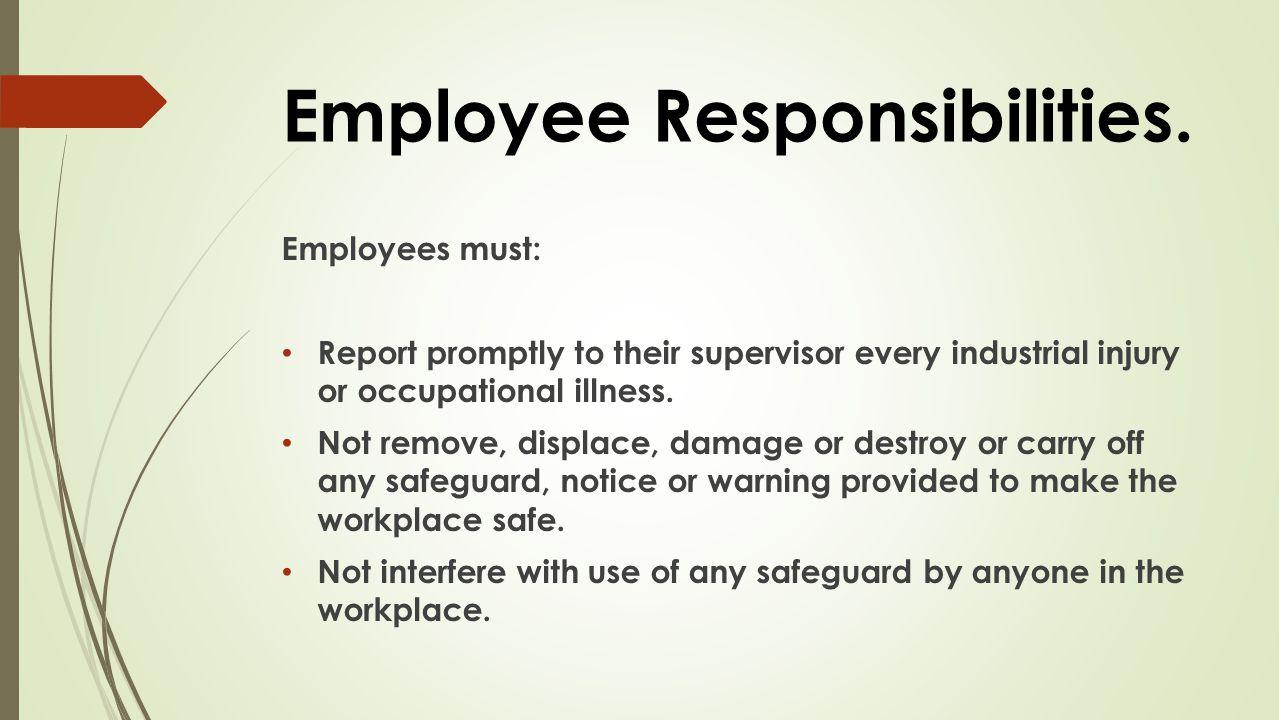 Employee Responsibilities.