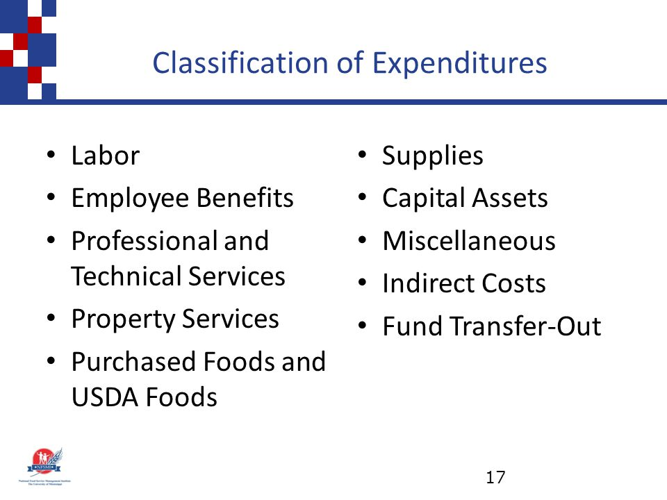 Classification of Expenditures Supplies Capital Assets Miscellaneous Indirect Costs Fund Transfer-Out Labor Employee Benefits Professional and Technical Services Property Services Purchased Foods and USDA Foods 17