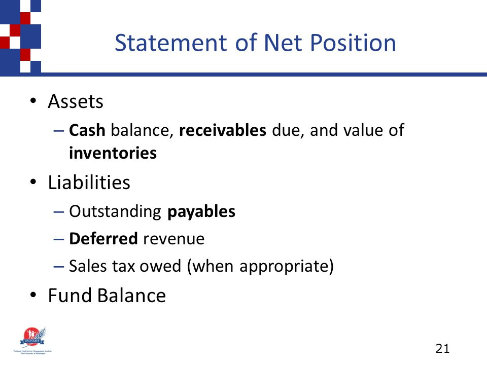 Statement of Net Position Assets – Cash balance, receivables due, and value of inventories Liabilities – Outstanding payables – Deferred revenue – Sales tax owed (when appropriate) Fund Balance 21