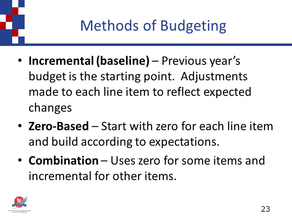 Methods of Budgeting Incremental (baseline) – Previous year's budget is the starting point. Adjustments made to each line item to reflect expected cha