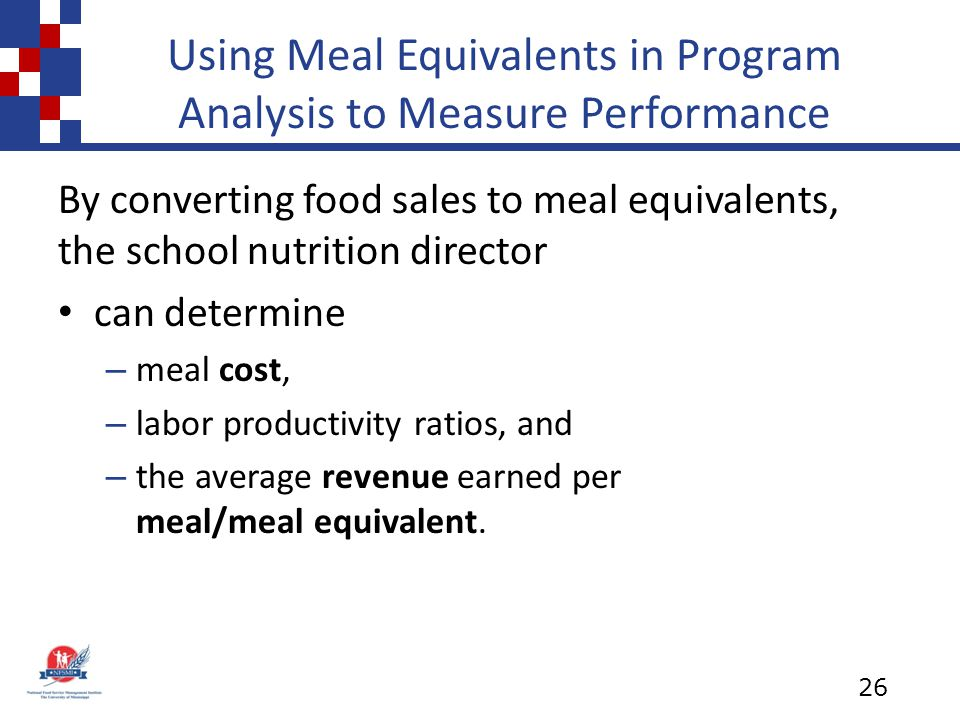 Using Meal Equivalents in Program Analysis to Measure Performance By converting food sales to meal equivalents, the school nutrition director can determine – meal cost, – labor productivity ratios, and – the average revenue earned per meal/meal equivalent.