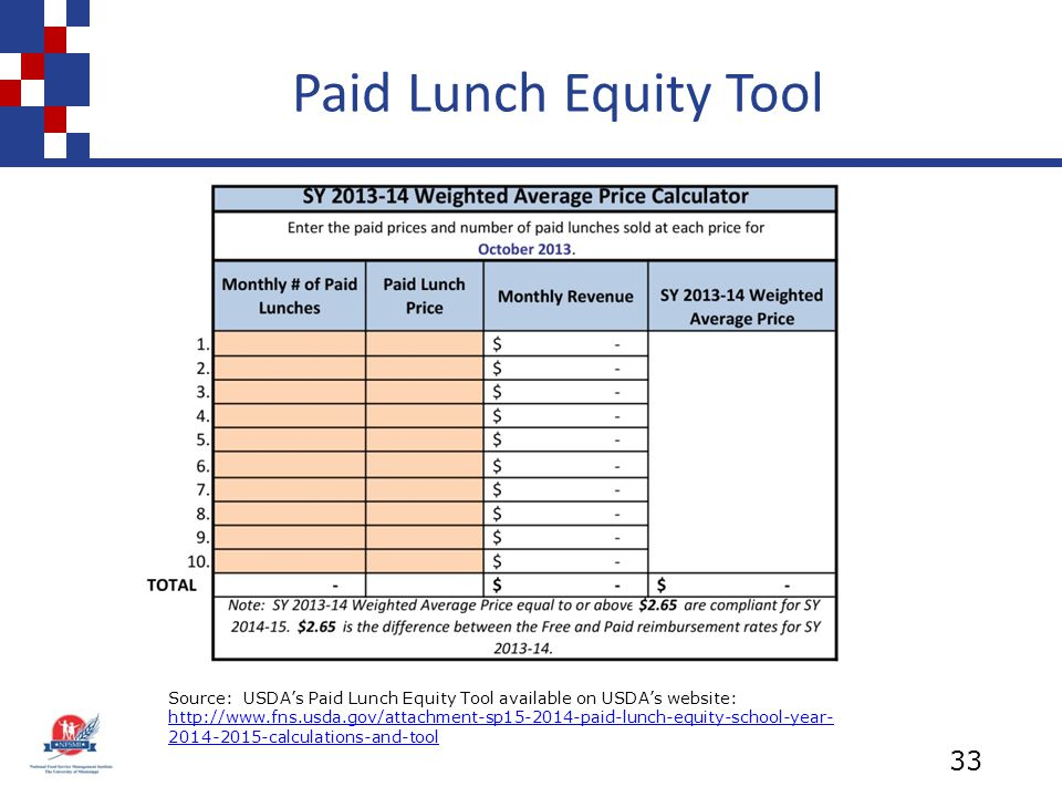 Paid Lunch Equity Tool 33 Source: USDA's Paid Lunch Equity Tool available on USDA's website: http://www.fns.usda.gov/attachment-sp15-2014-paid-lunch-equity-school-year- 2014-2015-calculations-and-tool http://www.fns.usda.gov/attachment-sp15-2014-paid-lunch-equity-school-year- 2014-2015-calculations-and-tool