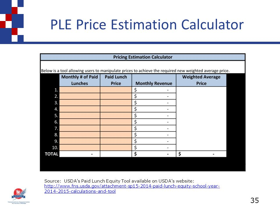 PLE Price Estimation Calculator 35 Source: USDA's Paid Lunch Equity Tool available on USDA's website: http://www.fns.usda.gov/attachment-sp15-2014-paid-lunch-equity-school-year- 2014-2015-calculations-and-tool http://www.fns.usda.gov/attachment-sp15-2014-paid-lunch-equity-school-year- 2014-2015-calculations-and-tool