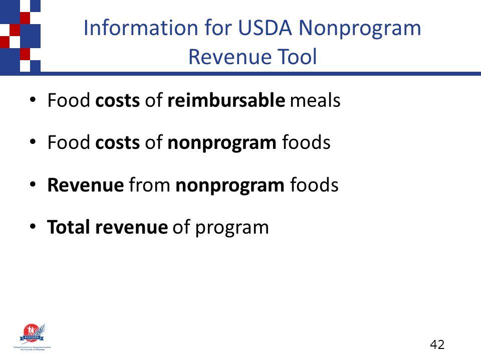 Information for USDA Nonprogram Revenue Tool Food costs of reimbursable meals Food costs of nonprogram foods Revenue from nonprogram foods Total revenue of program 42