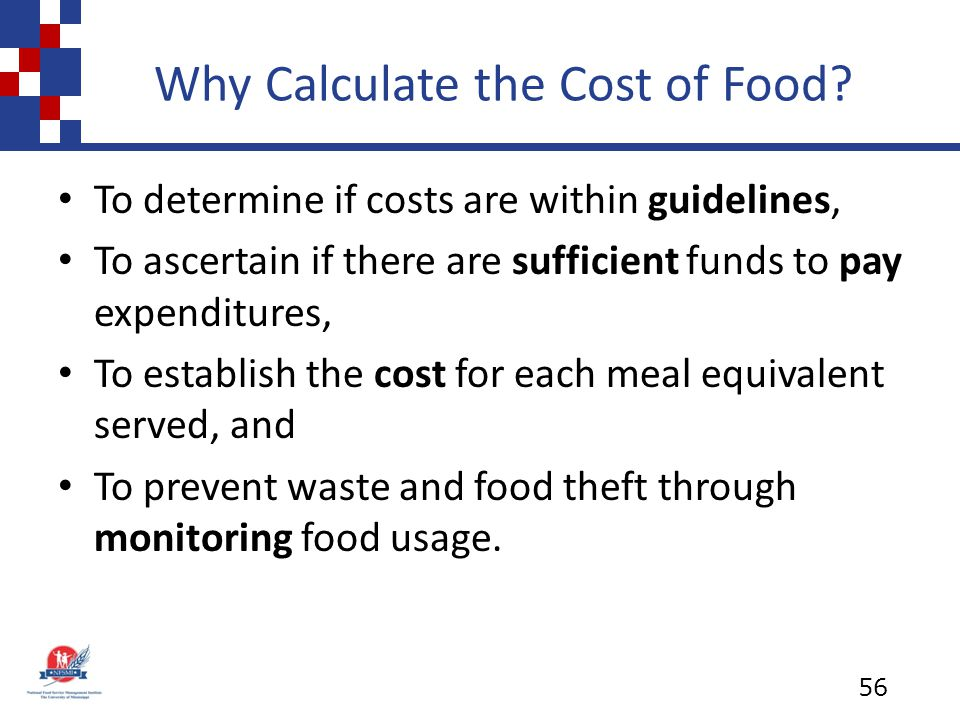 Why Calculate the Cost of Food.