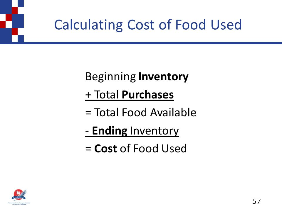 Calculating Cost of Food Used Beginning Inventory + Total Purchases = Total Food Available - Ending Inventory = Cost of Food Used 57