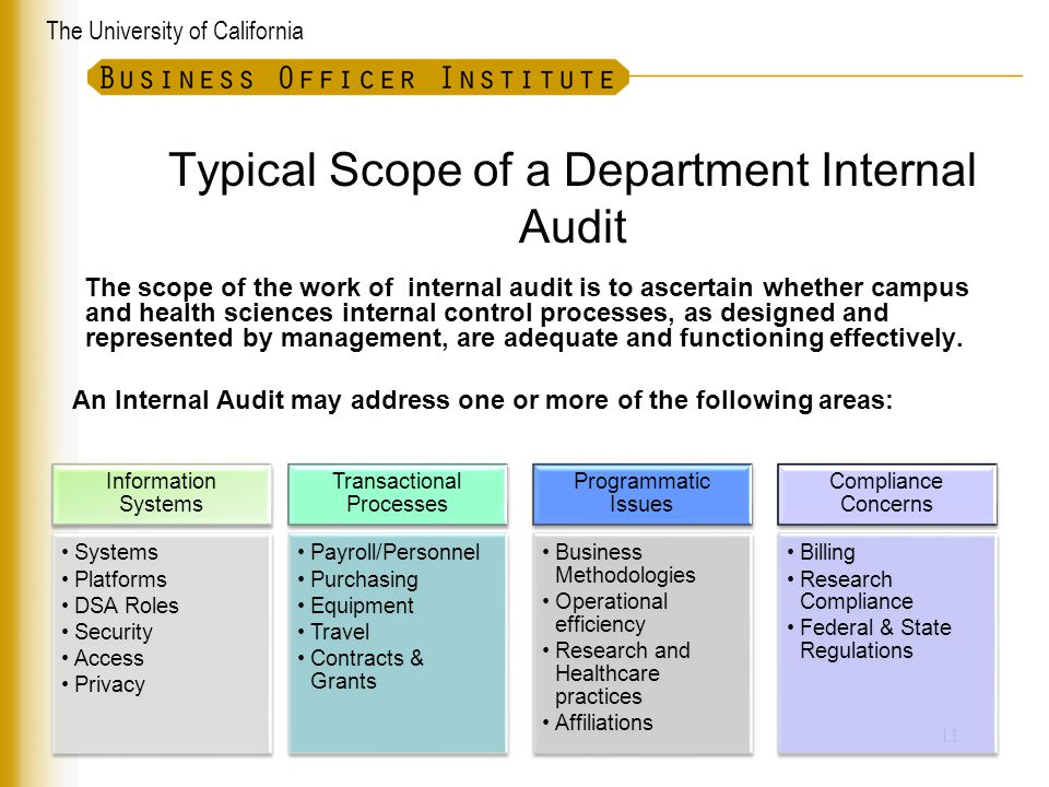 The University of California Typical Scope of a Department Internal Audit 11 Information Systems Systems Platforms DSA Roles Security Access Privacy T