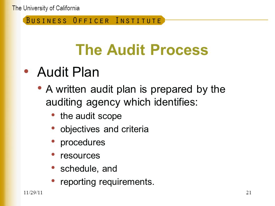 The University of California The Audit Process Audit Plan A written audit plan is prepared by the auditing agency which identifies: the audit scope ob