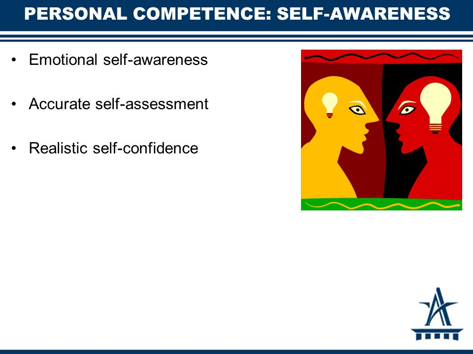 PERSONAL COMPETENCE: SELF-AWARENESS Emotional self-awareness Accurate self-assessment Realistic self-confidence