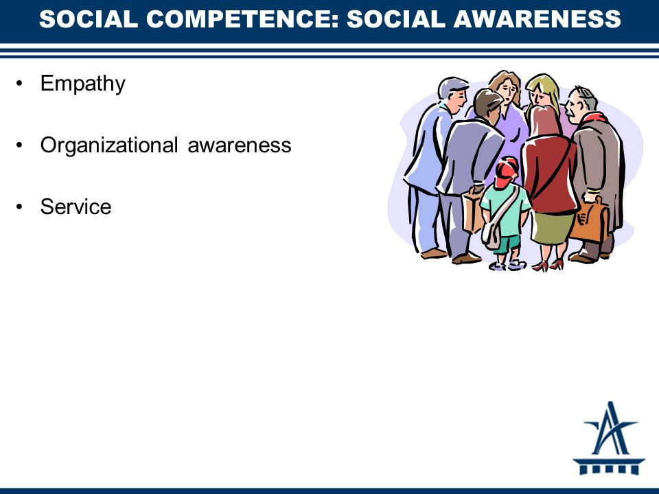 SOCIAL COMPETENCE: SOCIAL AWARENESS Empathy Organizational awareness Service