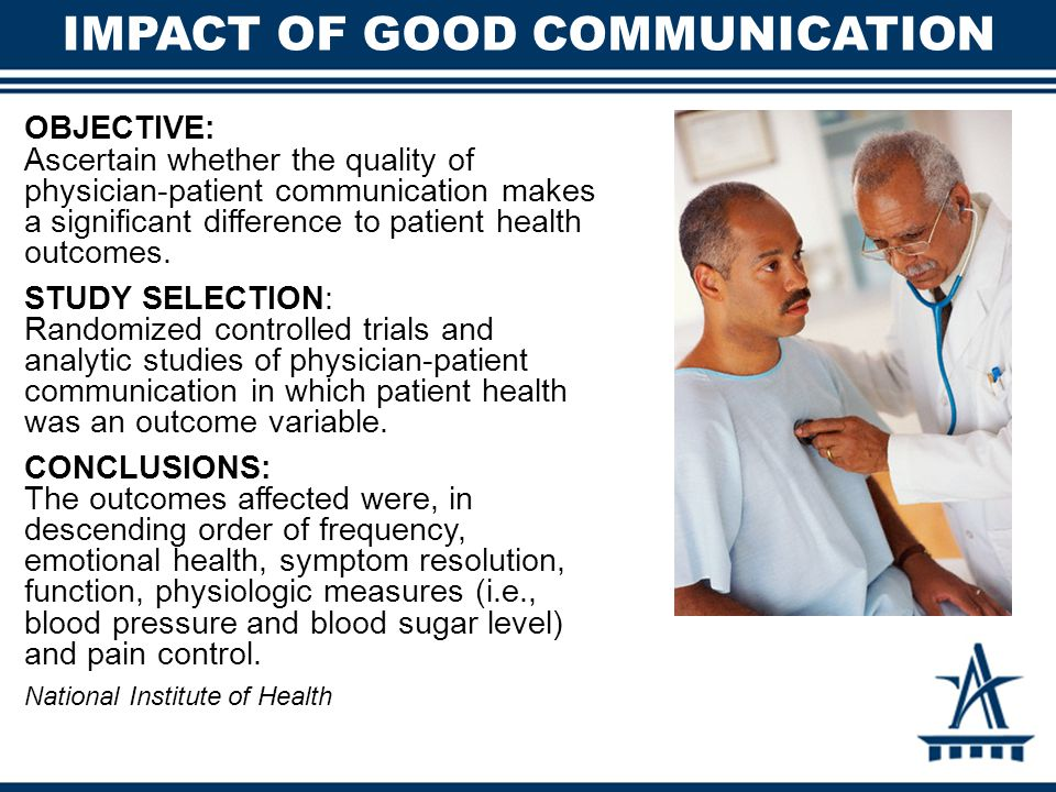IMPACT OF GOOD COMMUNICATION OBJECTIVE: Ascertain whether the quality of physician-patient communication makes a significant difference to patient health outcomes.